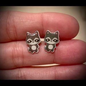 Acrylic Raccoon Earrings w/Surgical Steel Posts